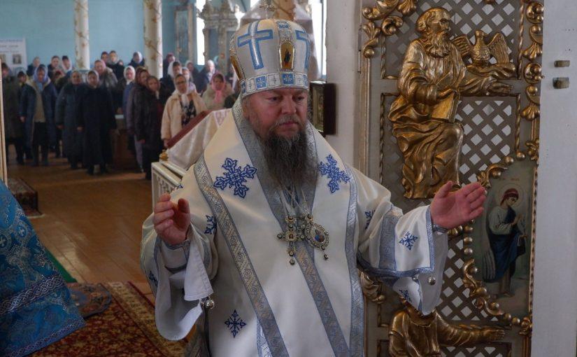 В праздник Сретения Господня епископ Митрофан совершил Литургию в Покровском храме г. Белинский